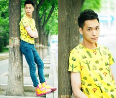 Chris Su - Bershka Top, Adidas Sneakers - Yellow