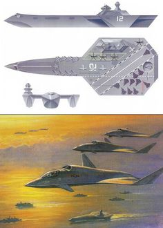 Stealth Trimaran Aircraft Carrier and Future Offensive Air System concepts, late 1990s
