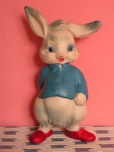 Vintage Rubber Squeaking White Rabbit Alice in by Vintouchables
