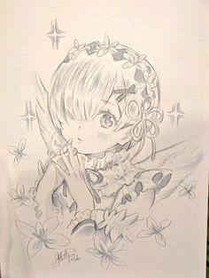 Rem re zero Dark Art Drawings, Kpop Drawings, Chibi, Re Zero, Anime Sketch, I Love Anime, Manga Drawing, Anime Art Girl, Anime Comics