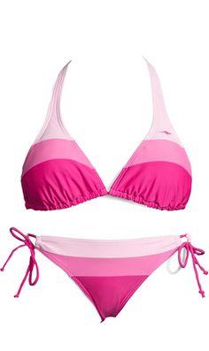 KangaROOS Triangel bikini - Modischer Farbkontrast mit breiten Blockstreifen. Top mit wattierten und herausnehmbaren Cups. Vorn gefütterte Hose, seitlich zu binden.Futter aus 100% Polyamid