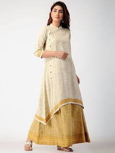 Ivory Block-printed Khadi Cotton Kurta