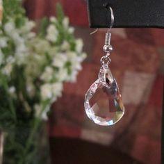 Princess Drop Austrian Crystal Silver Earrings by Feshionn IOBI. Beautiful uniquely shaped earrings at an affordable price! www.feshionniobi.com