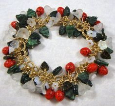 Strawberry Fields Forever Charm Bracelet and Earrings with Fresh Strawberries