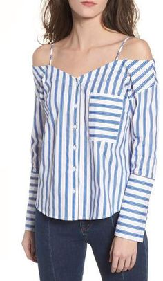 355edfd077108 CODEXMODE Stripe Cold Shoulder Button Top Spring Sale