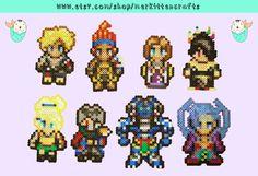 Final Fantasy X Perler Beads (Tidus - Wakka - Yuna - Lulu - Rikku - Auron - Kimahri - Seymour)  by MerkittenCrafts