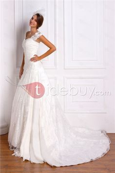 Gorgeous A-line/Princess Sleeveless Floor-length Chapel Lace Miriama's Wedding Dress very happy friends like