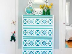 Home Design and Interior Design Gallery of Amusing Blue Geometric Wallpaper Dresser Diy Furniture Projects, Furniture Makeover, Diy Furniture, Furniture Stencil, Blue Furniture, Inexpensive Furniture, Furniture Websites, Furniture Vintage, Furniture Online