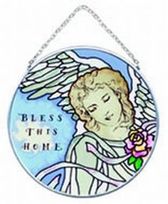 Joan Baker Designs  MC161 Angels of Heaven/Bless This Home Art Glass Suncatcher, 4-1/2-Inch Diameter by Joan Baker Designs. $14.00. Nickle-plated frame and chain for lead free, longlasting beauty. Hand-painted. Translucent artwork looks beautiful from inside or outside the window. The gentle gaze of an angel rests on your home with this hand-painted art glass Suncatcher. For more than 40 years, Joan Baker Designs' talented artisans have created stunning decorati... Garden Sculptures, Aleta, Hand Painting Art, 40 Years, Suncatchers, Home Art, Outdoor Gardens, Lead Free, Art Decor