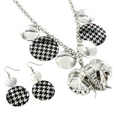 "$5.25 17"" Houndstooth Disk Elephant Necklace and Earring Set"