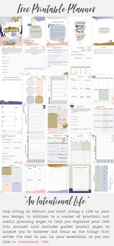 """Free Printable """"An Intentional Life"""" Planner by La Lilú. Practical and useful planning + journal pages to plan and organize your day to day, and to let your Why and values guide you into setting and achieving goals that have meaning to you. Printable Labels, Printable Planner, Free Printables, Planning And Organizing, Organizing Ideas, Life Planner, Happy Planner, Achieving Goals, Subway Art"""