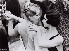 "Girl-on-girl lez-pretend-lesbians-for-show in Bernardo Bertolucci's 1970 film, ""The Conformist."" Dominique Sanda and Stefania Sandrelli."