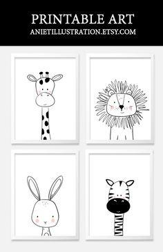 Black and white nursery kids art. Printable nursery wall art.