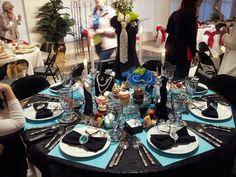 """Breakfast at Tiffany's"" table theme"
