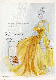 20 CARATS by DANA Perfume Ad by Lange - 1946 - Lady in Yellow Eve Gown #DanaPerfumes