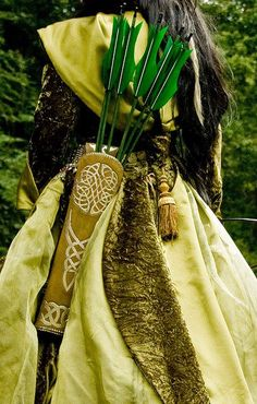 Elven Archer, for quiver Owl Feather, Traditional Archery, Bow Arrows, Quiver, Warrior Princess, Dragon Age, Renaissance, Weapons, Fairy Tales