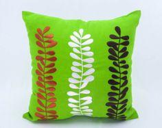 Leaf Pillow Cover Decorative Throw Pillow White Linen by KainKain