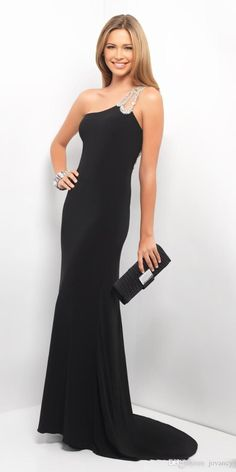 Sexy Sheath Evening Gowns One Shoulder Beaded Straps Crystal Sweep Train Backless Black Long Party Dress Backless Prom Dresses Cheap Sexy Evening Dresses Chic Evening Dresses