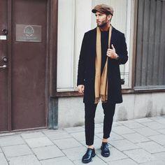 "coolcosmos: "" Erik F. [Coat : Matinique Scarf : H&M Pants : Asos Shoes : Vagabond] "" Mode Masculine, High Fashion Men, Mens Fashion, Great Clothes For Men, Men Street, Black Suits, Mode Style, Men's Style, Fashion Books"