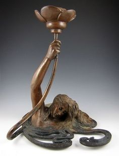art nouveau bronze candlestick, ca. 1900