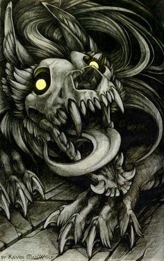 Skulldog by RavenMadwolf - Anime Wolf Pet Anime, Anime Wolf, Mythical Creatures Art, Fantasy Creatures, Creepy Drawings, Cool Drawings, Arte Horror, Horror Art, Demon Dog
