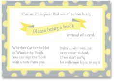 Baby Shower Poem - I can't wait to do this. I love the idea of guests bringing a favorite book from their childhood as a gift.