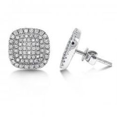$1,250.00- KC Desings Diamond Small Square Shaped Earrings in 14K White Gold with 138 Diamonds weighing .46ct tw