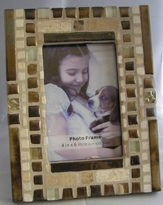 Copper  White Stone Frame  Glass Frame  4 x 6 by breakitupdesigns