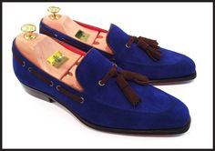 Antonio De Torres for Massimo Ferrari. Damian loafer. Made using Rappello suede in Parisean blue, with truffle tassels and string.  Extra long splayed tassels built on our 695 D last.