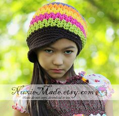 Dievčatá Hat, Dieťa Hat, háčkovanie Hat, Newsgirl klobúk, Newsboy klobúk Rainbow Hat, Stripe Hat, Deti Hat, Detské Hat, Brim klobúk, Voľný USA námornej