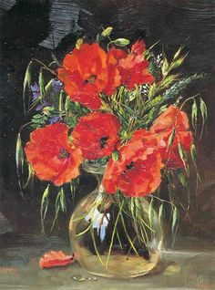Field Poppies greeting card by Anne Cotterill