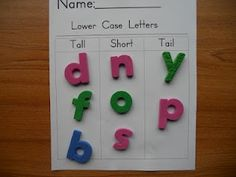 letter study/ word work (sort tall, short, tail)