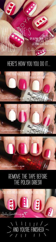 Valentine's Day Nails. Stripes & hearts nail art.