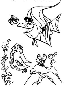 Finding Nemo Gill Happily With Friends Finding Nemo Coloring Pages, Coloring Pages For Kids, Recherche Google, Friends, Walt Disney, Artist, Animals, Nautical Background, Drawing Drawing