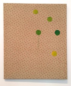 Sigmar Polke, 5 Dots, 1964. Dispersion Paint on Patterned Fabric, 36 x 30 inches