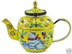Kelvin Chen Enamel Mini Teapot Cat and Dragonfly | eBay