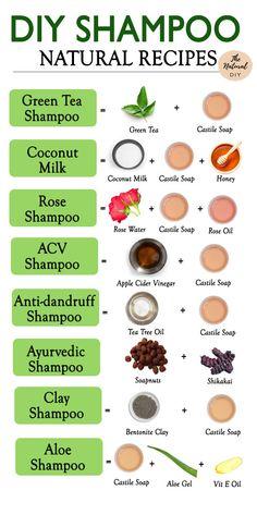 Natural Shampoo Recipes, Natural Hair Shampoo, Natural Beauty Recipes, Homemade Shampoo Recipes, Green Tea Shampoo, Homemade Beauty Products, Natural Products, Diy Hair Care, Handmade Soaps