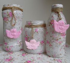 Decopatched jars by liszha.blogspot.com