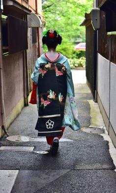 Oiran & Geisha | Back of the maiko Kikuyae. (Source)