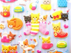 Animals Stickers Cute Cats (S14)