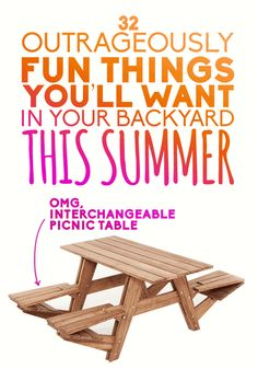 32 Outrageously Fun Things You'll Want In Your Backyard This Summer I WANT IT ALL! (except for the picnic table, that one is pointless) Backyard Projects, Outdoor Projects, Home Projects, Backyard Ideas, Garden Ideas, Landscaping Ideas, Outside Living, Outdoor Living, Summer Fun