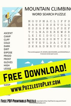 The Mountain climbing word search is a printable puzzle offering a peek at what it feels like to work your way to the top! The word game is a free download