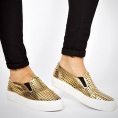 15 Chic Sneakers for Anywhere BUT the Gym! via Brit + Co. ASOS Dialog Sneakers ($42): Could these shiny gold slip ons be the king of fancy kicks? We vote yes oh yes!