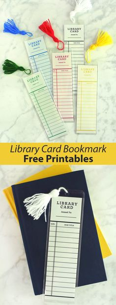 Library Card Bookmark (Free Printables) - A Beautiful Mess