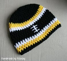 Pittsburgh Steelers Crochet Football Hat {Handmade by Holaday}