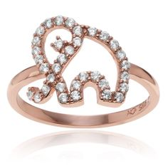 Journee Collection Rose Goldplated Sterling CZ Accent Elephant Ring