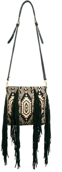 6091f19dd539 River Island Black Fringed Ikat Leather Cross Body Bag Cozy Sweaters