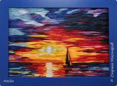 Картина панно рисунок Квиллинг Мой закат Бумажные полосы фото 1