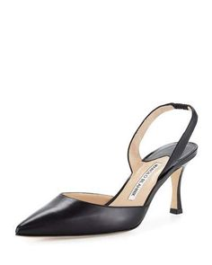 X31L7 Manolo Blahnik Carolyne Leather Mid-Heel Halter Pump, Black