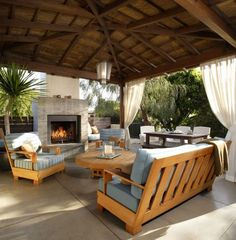 The wooden pergola is a good solution to add beauty to your garden. If you are not ready to spend thousands of dollars for building a cozy pergola then you may devise new strategies of trying out something different so that you can re Outdoor Living Rooms, Outside Living, Outdoor Spaces, Living Spaces, Outdoor Decor, Outdoor Curtains, Outdoor Kitchens, Indoor Outdoor, Privacy Curtains